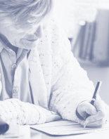 senior woman filling up application form
